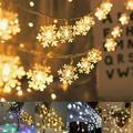 Battery Operated LED String Lights Fairy Lights Christmas Snowflake LED String Lights Snow Lights Christmas Tree Decorations Lights Curtain Snowflake String Light
