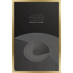 """Trends International Star Wars: Saga - S. Preston Minimalist Death Star Wall Poster 16.5"""" x 24.25"""" x .75"""" Gold Framed Version"""