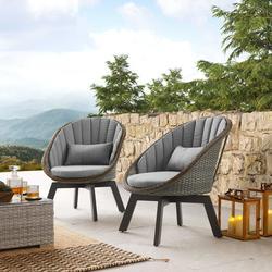 Art Leon Modern Outdoor Wicker Chair Swivel Garden Patio Lounge Chair Set of 2,Gray