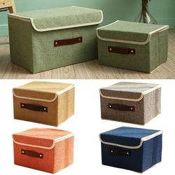 Yipa Storage Boxes with Lids Foldable Storage Bins,Handles Storage Baskets in Cotton and Linen Storage Organizers for Bedroom,Closet,Toys, Shelves, Clothes, Papers