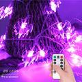 Halloween Bats String Lights, 9.8ft 20 LED Waterproof 8 Modes Battery Operated Halloween Outside Decoration Light Indoor & Outdoor Decor for Halloween Party Holiday Christmas Yard Decorations(Purple)