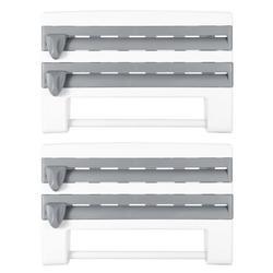 iMountek Kitchen Roll Dispenser Paper Roll Holder Plastic Wrap Film Foil Paper Organizer w/ Cutter Wall Mounted for Kitchen Bathroom 2Pack