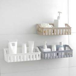 Plastic Punch-free Storage Basket, Condiment Storage Basket Toiletries Storage Basket, Bathroom Kitchen Storage Basket Plastic Wall Hanging Shelf Storage Rack