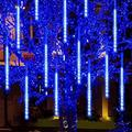 EIMELI Falling Rain Lights Meteor Shower Lights Christmas Lights 10 Tube 360 LEDs, Waterproof Falling Rain Drop Icicle String Lights for Christmas Trees Halloween Decoration Holiday Wedding (Blue)