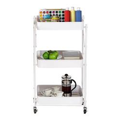 CACAGOO FOLDABLE STORAGE CART, Foldable 3 Tier Rolling Cart Utility Folding Storage Cart with Handle, Free Installation Rolling Cart Metal Mobile Storage Organizer Cart with Wheels for Family, White