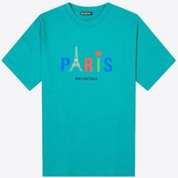 Paris Print Cotton T-shirt M - Blue - Balenciaga T-Shirts