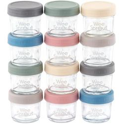 WEESPROUT Glass Baby Food Storage Containers Set of 12 4 oz Glass Baby Food Jars with Lids Reusable Small Glass Baby Food Containers Microwave & Dishwasher Safe for Infant & Babies
