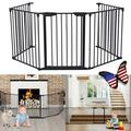 Brand New Folding Fireplace Gate, 30''x120'' Five Wrought Iron Fences, Gate for Fireplace, Extra Wide Baby Gate, Decorative Steel Plastic Safety Baby Gate, Baby and Pet Gate for Doorways