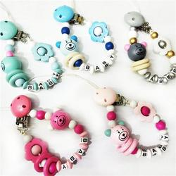 Cute Wooden Bead Dummy Pacifier Clips Holder Pacifier Necklaces Baby Teething Toy