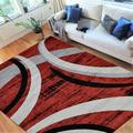 """HR Abstract Rugs Luxury Livingroom Carpet Modern Contemporary 8x10 red Area Rug Ultra-Soft, Shed Free Stain Resistant Swirls Red/Silver/Gray/White (7'74"""" x 10')"""