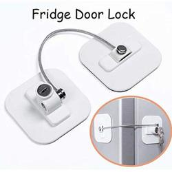 1 Pack Refrigerator Lock with 2 Keys, Refrigerator Lock Dorm Freezer Door Lock and Child Safety Cabinet Lock with Strong Adhesive