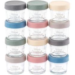 WeeSprout Glass Baby Food Storage Containers 12 Set 4 oz Baby Food Jars with Lids Freezer Storage Reusable Small Glass Baby Food Containers Microwave/Dishwasher Friendly for Infants/Babies