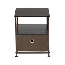 Nightstand 1-Drawer Shelf Storage- Bedside Furniture & Accent End Table Chest For Home, Bedroom, Office, College Dorm, Steel Frame, Wood Top, Easy Pull Fabric Bins