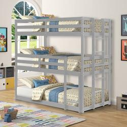 Piscis Triple Bunk Bed for Kids, Wood Twin Size Triple Bed Frame with Guard Rail and Ladder for Kids Bedroom, Can be Divided into 3 Separate Beds, Triple Bed, Grey