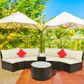 Outdoor Patio Sectional Furniture Wicker Sofa Set, 4-Piece Wicker Patio Conversation Furniture Set with 2 Double Half-Moon Sofa, 1 Coffee Table, 1 Side Table, 2 Pillow, Beige Padded Cushions, S5555
