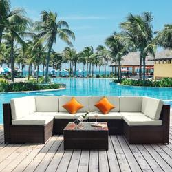 7 Pieces Outdoor Wicker Patio Sets, SEGMART 7 Pieces Outdoor Wicker Patio Furniture Set with 2 Corner Sofa, Tempered Glass Table, 4 Single Sofa, 12 Padded Cushions, 2 Pillows, White, S7201