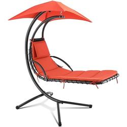HEMBOR Patio Hanging Chaise Lounge Chair with Removable Canopy, Outdoor Floating Hammock Swing Chair w/Cushion Built in Pillow, for Garden, Deck, Yard