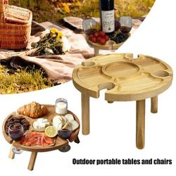 Wooden Folding Picnic Table, Outdoor Portable Mini Table, Portable Picnic Creative 2 in 1 Wine Glass Rack & Compartmental Dish, Outdoor Food Wine Table for Garden, Travel, Beach