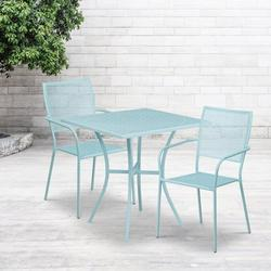 """Flash Furniture Commercial Grade 28"""" Square Sky Blue Indoor-Outdoor Steel Patio Table Set with 2 Square Back Chairs [CO-28SQ-02CHR2-SKY-GG]"""