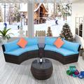 Dodocool 6 Piece Patio Furniture Sets, Outdoor Half Moon Sectional Furniture Wicker Sofa Set with Two Pillows and Coffee Table, Blue Cushions