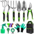 Garden Tools Set, Gardening Tool Set 31 Pieces Heavy Duty Aluminum Gardening Tools with Non-Slip Handle Included Durable Storage Bag Gardening Hand Tools Set Gift Set for Woman Man