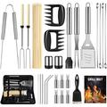 BBQ Grill Accessories Set for Men Women, 29PCS Grilling Utensils Tools Set, Stainless Steel BBQ Gift Set with Spatula, Tongs, Grill Mat, Skewers, Grill Brush for Barbecue, Camping, Kitchen