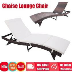 Patio Furniture Outdoor Folding Chaise Lounge, Rattan Patio Lounge Chair with Removable Thick Cushion, 4 Adjustable Levels, Leisure Reclining Wicker Lounge Chair for Garden, Pool Side, Balcony - Brown