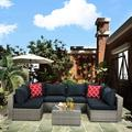 Rattan Patio Furniture Set, 7PCS Wicker Conversation Set, Weather Resistant Cushioned Sofa Set, Sectional Sofa Chairs with Glass Tabletop & Cushions, Deck Garden Lawn Pool Furniture Set, K3280