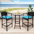Outdoor Bar Stools Set of 3, BTMWAY PE Wicker High Bar Stools Patio Conversation Set, Outdoor Rattan Bar Chairs Set, Counter Height Backyard Porch Deck Chairs Set, w/Side Table, Blue, A2748