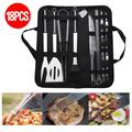 18Pcs Stainless Steel Grill BBQ Tools Kit Set Barbecue Grilling Utensil Accessories Includes Fork, BBQ Brush,Sticks,Shovel,Blade,Clip with Storage Bag