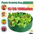 15/50/100Gallon Round Garden Plants Growing Bag Raised Plant Bed Garden Flower Planter Elevated Vegetable Box Planting Grow Bag