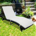 UHOMEPRO Chaise Lounges Chairs Outdoor, Rattan Patio Chaise Lounge Chairs w/Adjustable Back&Cushion, All-Weather Sunbed Lounger Chaise Lounge for Backyard, Pool, Balcony, Deck, S Style, Black, W9221