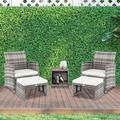 YOFE Rattan Patio Furniture Set, Outdoor Gray Sectional Cushioned Sofa 5 Piece with 2 Chairs 2 Footstools 1 Coffee Table, Modern Wicker Patio Set for Patio Garden Party Backyard, D651