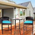 Outdoor Bar Stools Set of 3, BTMWAY PE Wicker High Bar Stools Patio Conversation Set, Outdoor Rattan Bar Chairs Set, Counter Height Backyard Porch Deck Chairs Set, w/Side Table, Blue, A2743