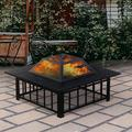 """Fire Pit for Outside, 32"""" Outdoor Square Metal Fire Pit, Wood Burning BBQ Grill Fire Pit Bowl with Spark Screen, Poker, Backyard Patio Garden Bonfire Fire Pit for Camping, Heating, Picnic, L6203"""