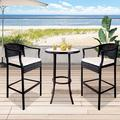 Patio Bar Chairs Set of 3, BTMWAY Outdoor Rattan Bar Stools Set w/Side Table&Cushions, PE Wicker High Bar Stool Patio Conversation Set, Counter Height Backyard Porch Deck Chairs Set, Beige, A2749