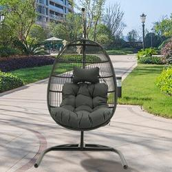 Rattan Swing Hammock Egg Chair, Hammock Chair Hanging Chair with Stand, Cushion and Pillow, Large Seat UV Resistant Soft Deep Cushion Relaxing Basket Chair, for Indoor Outdoor Bedroom Garden, K3136