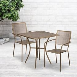 """Flash Furniture Commercial Grade 28"""" Square Gold Indoor-Outdoor Steel Patio Table Set with 2 Square Back Chairs [CO-28SQ-02CHR2-GD-GG]"""