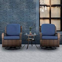 PHI VILLA Rattan Swivel Rocking Chairs 3 PC Patio Conversation Set, Outdoor Bistro Set for Lawn Garden with 2 Cushioned Chairs & 1 Side Table