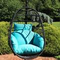 Sunnydaze Penelope Hanging Egg Chair with Seat Cushions - Black Hanging Wicker Chair with Polyester Cushions - Collapsible Nylon Back - Ideal for Patio and Backyard - Multiple Colors Available