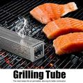 Mgaxyff BBQ Smoker Tube,12in Stainless Steel Square BBQ Smoker Tube Wood Smoke Pipe Charcoal Gas Grilling Set,Charcoal Tube