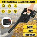 Electric Blower Handheld Cordless Blower 110V 2 Speed Adjustable with 128VF 19800mAh Li-ion Battery Portable Vacuum Dust Cleaner Blowing and Suction 2 in 1 Function with Air Hose, Dust Bag