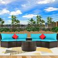 Outdoor Patio Sectional Furniture Wicker Sofa Set, 4-Piece Wicker Patio Conversation Furniture Set with 2 Double Half-Moon Sofa, 1 Coffee Table, 1 Side Table, 2 Pillow, Blue Padded Cushions, S1605
