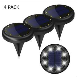Solar Ground Lights, 4 Packs 8 LED Solar Garden Lamp Waterproof In-Ground Outdoor Landscape Lighting ,1200mAh Battery 2 Solar Pannel 60-62 Lighting Working Time (Auto On/Off)