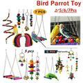 2/5/6/7 Pcs/set Bird Parrot Toy Hanging Bell Pet Bird Cage Hammock Swing Toy Hanging Toy Bite Toy Parrot Toy Bird Supplies Parrot Chew Toy Bird Toys Swing Bell
