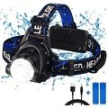 Headlamp, High Lumen USB Rechargeable LED Headlamps, Zoomable Lightweight 3 Modes Head Lamp, Adjustable IPX4 Waterproof Headlamp Flashlight for Adults, Hiking, Running, Camping (Battery Include)