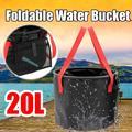 Collapsible Bucket ,20L Portable Folding Bucket Wash Basin for Traveling Hiking Fishing Boating Gardening(Black)