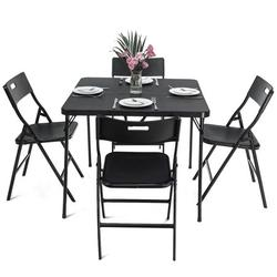 5 Pieces Card Table and Chairs Set, Folding Square Camping Table Set, ABS Picnic Table and PP Chairs, Party BBQ Beach Table Set, Quick Storage and Portable, 34.2 x 34.2 x 28 inch Tabletop, JA3049
