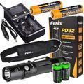 Fenix PD32 2016 Edition 900 Lumen CREE XP-L HI LED Tactical Flashlight, 2 X Fenix ARB-L2M 18650 Li-ion rechargeable batteries, Fenix smart Charger and 2 X CR123A Lithium batteries bundle