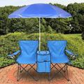 2-Seat Beach Camping Chair W/ Anti-UV Umbrella, Fishing Camping Chair W/ Cup Holder Carrying Bag Cooler Pouch, Outdoor Folding Stool Beach Leisure Chair, Camping Portable Chair for Patio Park, T130